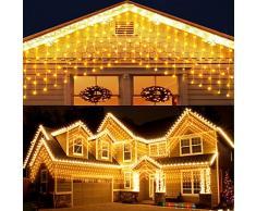 Elegear 4X0.6M 144LEDs Tenda Luminosa Natale IP44 Impermeabilità Luci Natale Esterno Cascata Luci con 8 Programmi di Luce per Interni ed Esterni, Balcone, Salotto, Giardino,Terrazza.