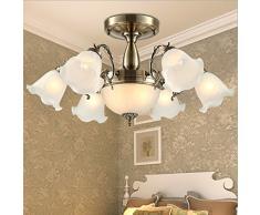 Ottone antico in stile europeo plafoniera soggiorno lampade ristorante minimalista camera da letto caldo lampada lampada da soffitto, 5 red bronze, Without light