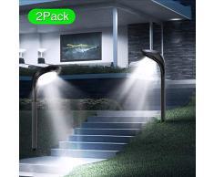 JSOT Luce Solare Esterno - Luci Solari da Giardino 2 Pezzi 2 Modelli di illuminazione 12LED Impermeabili Lampada Solare Esterno Parete per Strade, Giardini, Terrazze (Bianco freddo e bianco caldo)