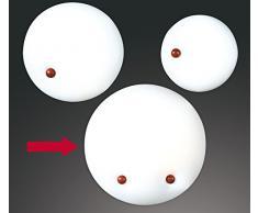 POMO-C - PLAFONIERA LAMPADA DA PARETE SOFFITTO CON FISSAGGIO IN LEGNO ROVERE PER CAMERA CUCINA SALOTTO (DIAMETRO 60cm)