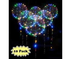 Zodight 10pz Palloncini LED Luminosi Trasparenti 18 Pollici Palloncini con Stringa Luminosa LED RGB a Elio Palloncini Decorazione per Compleanno Matrimonio Natale Valentine's Day Feste