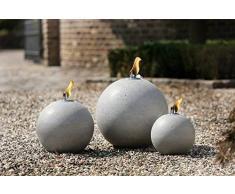 Gartenöllampe Sfera Giardino, Kugelöllampe, Grigio Cemento, D x H 30 x 33cm; Fiaccola Giardino, Sfera