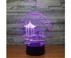 Lampada da tavolo lampada antica padiglione 3d Lampada da tavolo cambia colori 7 lampada da tavolo 3d novità luci notte a led luce regalo di san valentino luce