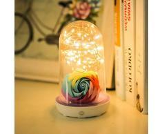 XIAOXINYUAN Lampada da Comodino A LED USB Lampada da Ricarica in Vetro Ricaricabile Lampada da Notte A Sospensione per La Decorazione di Festival per La Casa Viola