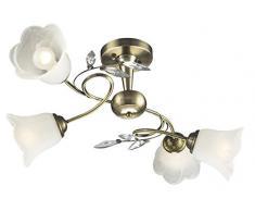 Plafoniera Ottone Vetro Illuminazione Lampada Salotto Luce Esto Romantica 997109-4