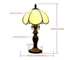 Hobaca® 8 pollici Amber Glass Tiffany Lampada da tavolo in oro vintage paralume design classico paralume E27 Home Deco per soggiorno