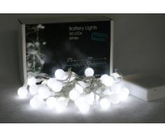Brightstuff - Catena di 40 luci LED, a batteria, luce bianca fredda