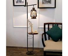 YEXIN Lampada da terra con lampada da terra antica progettata da lettura in rame con piano da caffè e altezza standard di 160 cm e base in marmo stabile da 27 cm per divano da salotto, comodino camera