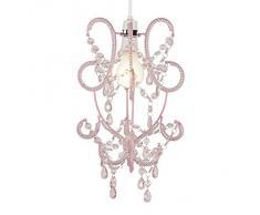 Lampada moderna a sospensione in rosa con gioielli acrilici - nello stile lampadario