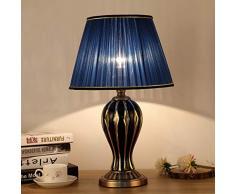 Sdjghf Lampada da tavolo Lampada da tavolo blu antico Lampada da comodino da salotto Lampada da tavolo in ceramica creativa dipinta a mano