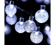 Oledank Luce Stringa Solare a forma di Globo 6 M 30 LED Bianca Luce Esterno con 2 Modalità Ideale per Patio Giardino Muro Albero di Natale Decorazione per la tua Festa [Classe di efficienza energetica A+++]