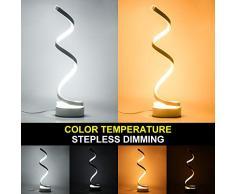 ALLOMN Lampada da Comodino a LED Dimmerabile, Lampade da Tavolo a Spirale Telecomandate Lampada da Scrivania a LED Curva Moderna Lampada da Scrivania Moderna Minimalista (Bianca, Dimmerabile)