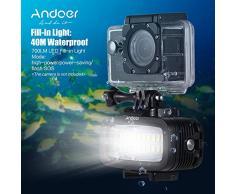 Andoer Ad alta Potenza 700LM Video Diving Fill-in luce LED Lampada di illuminazione Impermeabile 40M 1900mAh Built-in batteria ricaricabile con diffusore per GoPro SJCAM Xiaomi Yi cam