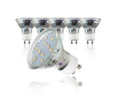Lampadine LED luce calda, 3W (equivalenti a 25W) attacco GU10, confezione da 5, 250 lumen, 3000Kelvin, per faretti, plafoniere, lampade, illuminazione da interno 230V