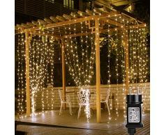 LE Tenda Luminosa LED 3 x 3m 306 LED, Luci Stringa Catena Luminosa Impermeabile Bianco Caldo 3000K, 8 Modalità di Illuminazione e Funzione Memoria per Decorazioni Interni, Feste, Natale, ecc.