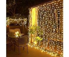 Elegear 6X3M 600LEDs Tenda Luminosa Natale IP44 Impermeabilità Luci Natale Esterno Cascata Tenda Luci con 8 Programmi di Luce per Interni ed Esterni, Balcone, Salotto, Giardino,Terrazza.