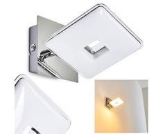 Applique murale LED Vallorbe in metallo di colore cromo - Lampada da parete cromata - Faretto spot orientabile 1 x 3,8 Watt - Luce calda 3000 Kelvin - 330 Lumen