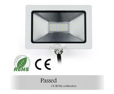 Auralum® Ultraslim 10W 230V IP65 Impermeabile LED Faretti Proiettori Proiettore Luce da Esterno, 750LM, SMD 3030, 5500K~6000K Bianca Fredda
