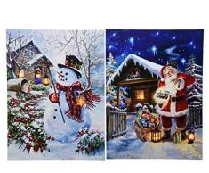 PERAGASHOP 1 Quadro Babbo Natale/Pupazzo di Neve LED 56X76CM Assortito Natale ADDOBBI