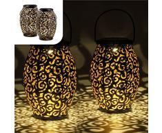 Set di 2 Lanterne solare ovali in metallo   per decorazioni da giardino   Lampada marocchina con effetto ombra   Sospensione impermeabile per esterno