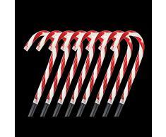 """Loopunk Vialetto Illuminazione Natale Vialetto Candy Cane Passeggiata Luce 10 """" Paletti Lampadina Esterno Iarde Decorazione"""