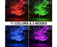 Onforu 2 Pezzi 60W Faretto LED RGB Esterno, Proiettore IP66 Impermeabile, 2 Modalità 11 Colori con Telecomando, Funzione di Memeria, Faro per Decorazione Festiva di Natale, Halloween, Giardino