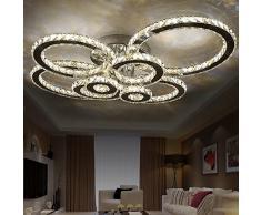 144W LED Moderno Cristallo Lampada a Soffitto Plafoniera LED Lampadario Decorazione Acciaio Inox Cristallo di lusso moderno ha condotto il pendente con uniche 8 anelli L105cm*W80cm*H23cm