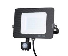 Faretto con Sensore di Movimento Alta luminosità, Tomshine 50W 60LED Faro LED Esterno, 5000LM Bianco 6000K,IP66 Impermeabile LED Esterno [Classe di efficienza energetica A]