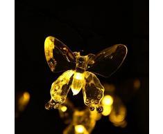 Salcar Catene luminose LED 5 metri solare catena leggera include 20 farfalla illuminazione decorativa per le celebrazioni della festa di Natale (bianco caldo)