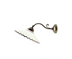 Applique ottone brunito appliques liberty piatto ceramica lampada parete am30.Dimensioni: Diametro piatto 29cm,sporgenza max 40cm,diametro base10cm.Le dimensioni sono comprensive del piatto.Portalampade attacco Edison E14 (attacco piccolo).