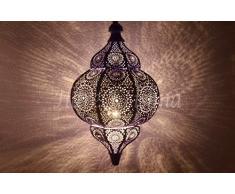 Decorazione per la casa Lampada da soffitto in ferro Ombra Illuminazione natalizia Lampada marocchina (viola e bianco) 30 x 19 cm