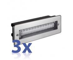 parlat LED lampada da incasso a parete da esterno, angolare, IP44, 230V, bianca calda, 3 PZ