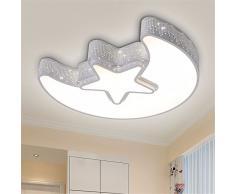 Matcose europea moderna e creativa mediterranea camera per bambini LED Lampade da soffitto camera da letto ambiente per ragazzi e ragazze Cartoon/LED regolabile con telecomando luna stella luce a soffitto,un bordo bianco 560mm