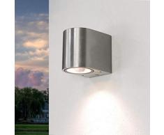 Compatta applique da esternoAalborg in acciaio inox / 1x GU10 fino a 35W 230V / resistente alle intemperie IP44 / Faretto da parete per cortile e giardino