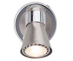 Classica LED Spot da parete lampada da parete, 1 X 2.5 W GU10 LED riflettore incl, 1 X 250 Lumen, 3000 K Bianco caldo, metallo, ferro/cromo