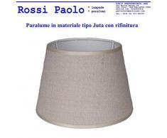 Paralume coprilampada classico per lampada in tessuto tipo Juta avorio con rifinitura - produzione propria - made in Italy (Tronco cono, cm 25)