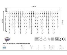 Tenda sfalsata 288 led 55-616 l.3,90m h.0,90m 24V IP44 illuminazione natalizia per esterno e interno luce chiara 32W