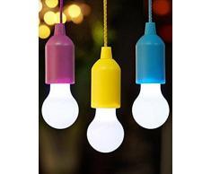 Lampadina cavo cambia colore colorata,Lampada LED portatile a tirante da campeggio esterna a sospensione a LED da campeggio,Decorazioni per la casa ,per bar (Blu, Approx. 5.5*5.5*15cm)