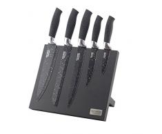 Ross Henery Professional Set Coltelli da Cucina 5 Pezzi Su Elegante Blocco Magnetico Nero