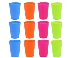 Golrisen 12 Pz Bicchieri di Plastica Dura Bicchieri di Plastica Riutilizzabili da 250 ml, Bicchieri Colorati in Plastica Ecologico e Sicuro per Bambini e Adulti per Acqua/Vino/Birra/Coca-Cola