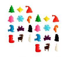 Toyvian 24 Pezzi Segnabicchieri Vino Calice in Silicone Marcatore Natale Segna Bicchieri Segnaposto Bicchieri Decorazione della Tavola di Natale