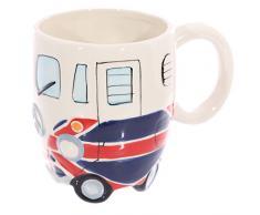 Puckator modello MUG216, tazza con motivo con immagine di camper con bandiera, tazza di ceramica di colore blu, rosso e bianco
