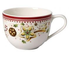 Villeroy & Boch Winter Bakery Delight Tazza Caffe, 0.23 l, Natale, Porcellana, Bianco/Rosso (Stella cadente)