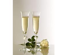 Stölzle Lausitz 388 52 07 - Set di 2 calici da Champagne LAmour, con Cuore Satinato, 175 ml