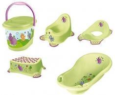 5 set ippopotamo bagno xxl verde + pentola coperchio wc sgabello pannolino secchio