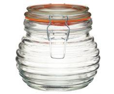 Kitchen Craft - Barattolo per miele tradizionale in vetro, a forma di alveare, in stile casereccio, con guarnizione in silicone, 650 ml