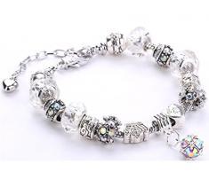 Minetom Donne Ragazze Gioielli Bracciali Moda Diy Strass Bicchiere & Cristallo Perline Metallo Catena Bianco A