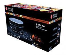 Russell Hobbs 21000-56 Fiesta Bistecchiera , Raclette x8, Piastra in Pietra, Minicrepes 8 pentolini, 1200 Watt, Nero