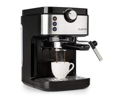 Klarstein BellaVita Espresso - Macchina da Caffè, Macchina da Caffè Espresso, 20 Bar, 1575 W, Capacità 900 ml, Controllo One Touch, Ugello per Vapore, Scaldatazze, Acciaio, Argento