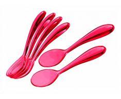 Guzzini Gocce Set 6 Cucchiaini, Plastica, Rosso Trasparente, 2.8x3.8x12 cm, 6 Unità